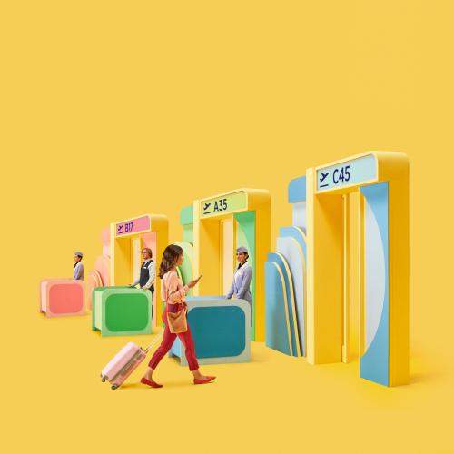 Un colorido quiosco de aeropuerto.